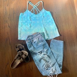 Hollister Turquoise Cross Back Tank Top